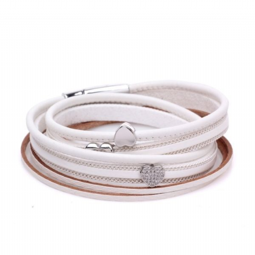 Double Wrap Sparkle Hearts Leather Bracelet in White